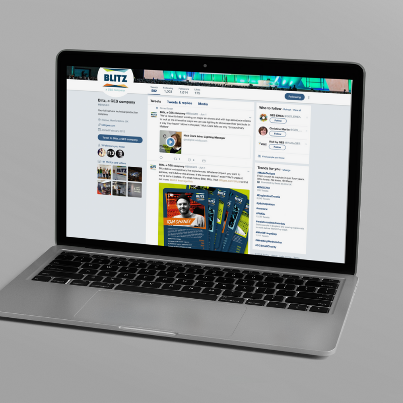Foundry12   Blitz social ad on laptop